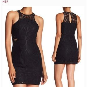 NSR black halter crotchet dress